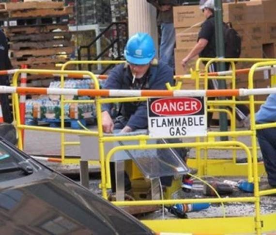 Smoking in general is a hazard but smoking near flammable gas is asking for a problem!