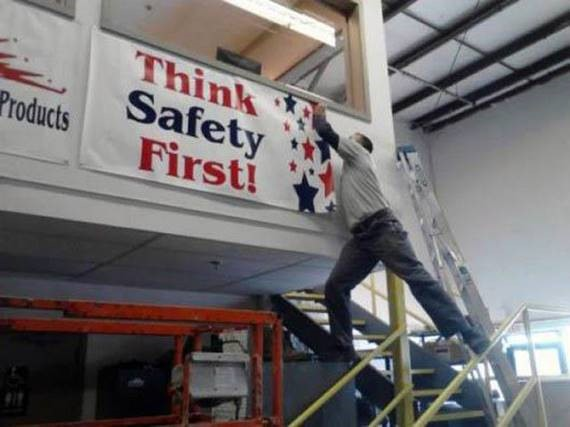 "Ironic. ""Think Safety First!- apparently this does not apply to me!"""